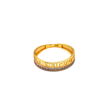 Real Gold Maze Hoop Ring (SIZE 6.5) R1499