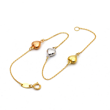 Real Gold 3 Color Heart Bracelet 0011 BR1233