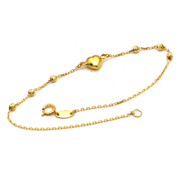 Real Gold Heart Beads Ball Bracelet 1481 BR1235