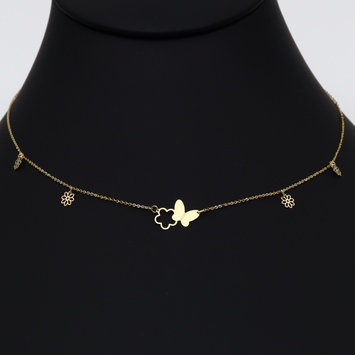 Real Gold Butterfly & Flower Necklace N1088