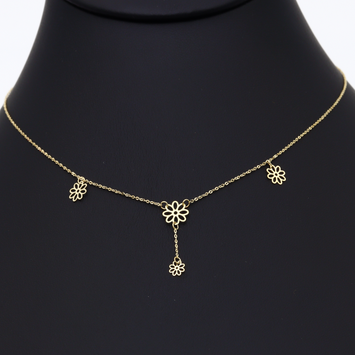 Real Gold 4 Flower Necklace N1003