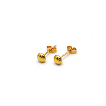 Real Gold Button Stud Earring Set E1566