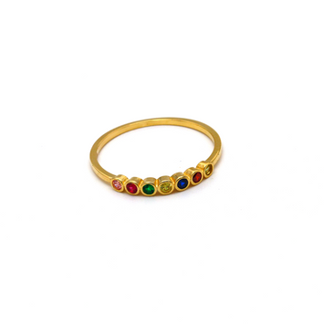 Real Gold Color Stone Round Gold Ring (SIZE 6.5) R1531