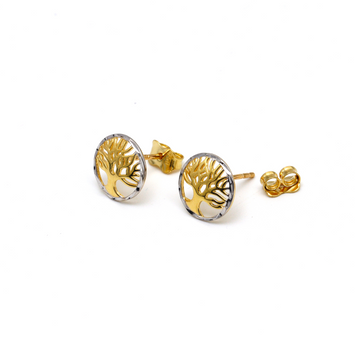 Real Gold 2 Color Tree Earring Set E1567