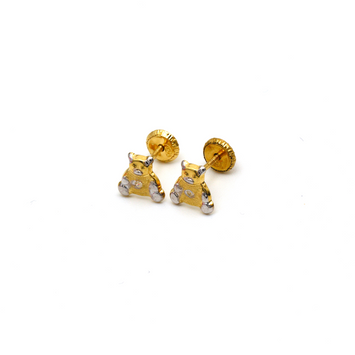 Real Gold 2 Color Teddy Bear Screw Earring Set K1163