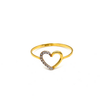 Real Gold Heart Stone Ring (SIZE 7) R1541 - 18K Gold Jewelry