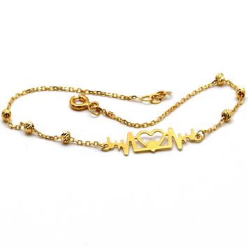 Real Gold Heart beat love Bracelet 998 BR1242