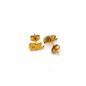 Real Gold Elephant Earring Set K1177