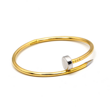 Real Gold 2 Color CR Nail Bangle (SIZE 15) BA1196 - 18K Gold Jewelry