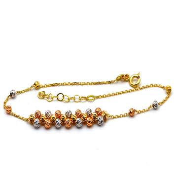 Real Gold 2 Color Ball seed Combine Adjustable Size Bracelet 997 BR1243