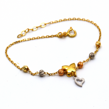 Real Gold 3 Color Butterfly Heart Rosary Adjustable Size Bracelet 995 BR1245