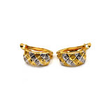 Real Gold Curved 2 Color Earring Set E1573