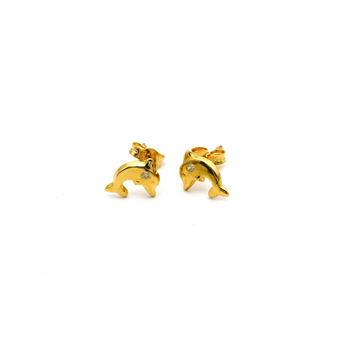 Real Gold Dolphin Earring Set K1191