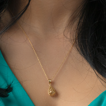 Real Gold Drop Net Necklace 132