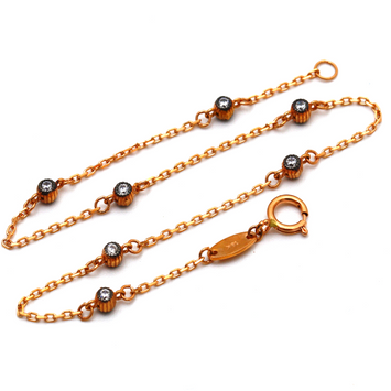 Real Gold Stone Beads Rose Gold Bracelet 4463 BR1256