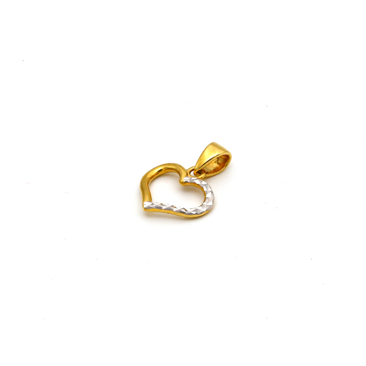 Real Gold 2 Color Texture Heart Pendant 0815 P 1661