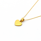 Real Gold Plain Solid Heart Necklace 0658 CWP 1662