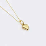 Real Gold Small Curved 3D Heart Necklace
