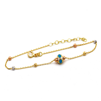 Real Gold Turquoise Seed Adjustable Size Bracelet 993 BR1259