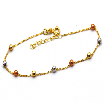 Real Gold 3 Color Seed Balls Adjustable Size Bracelet 991 BR1261