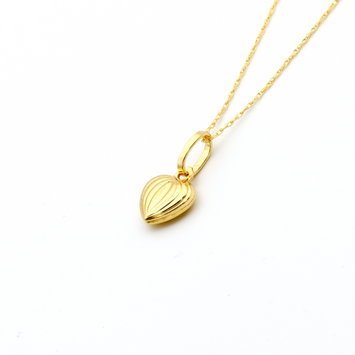 Real Gold Lined 3D Heart Necklace - 18K Gold Jewelry