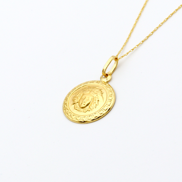 Real Gold Maze Hoop Frame Necklace