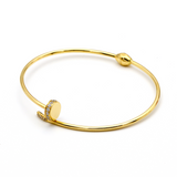 Real Gold CR Stone Nail Bangle (SIZE 18) BA1141 - 18K Gold Jewelry