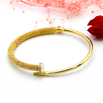 Real Gold CR Design Bangle (SIZE 18) BA1144 - 18K Gold Jewelry