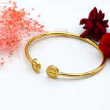 Real Gold CR ROUND Bangle (SIZE 17) BA1142 - 18K Gold Jewelry