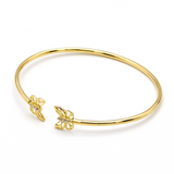 Real Gold Stone Butterfly Bangle - 18K Gold Jewelry