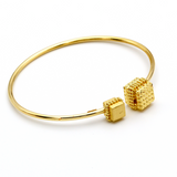 Real Gold Square Bangle-A - 18K Gold Jewelry