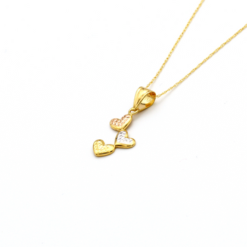 Real Gold 3 Color 3 Heart Necklace - 18K Gold Jewelry
