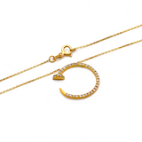 Real Gold CR Stone Necklace N1194