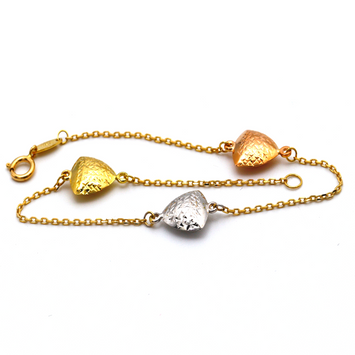 Real Gold Three Color Heart Bracelet 3604 BR1277