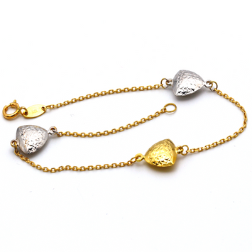 Real Gold Three Color Heart Bracelet 3604 BR1278