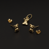 Real Gold Teddy Earring Set With Pendant