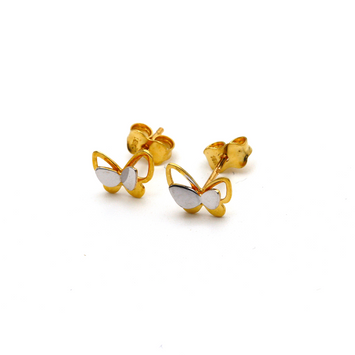 Real Gold 2 Color Butterfly Earring Set E1584