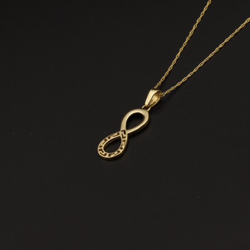 Real Gold Chain With Gold Maze Hoop Infinity Pendant