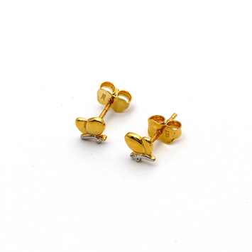 Real Gold 2 Color Heart Earring Set E1586
