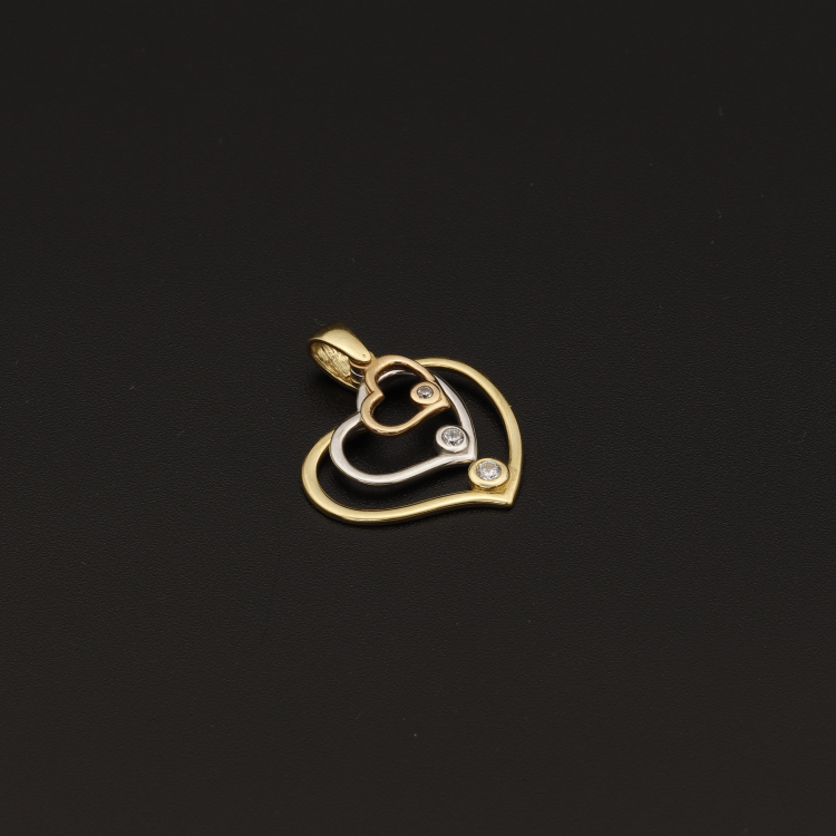 Real Gold 3C Stone Movable Heart Pendant
