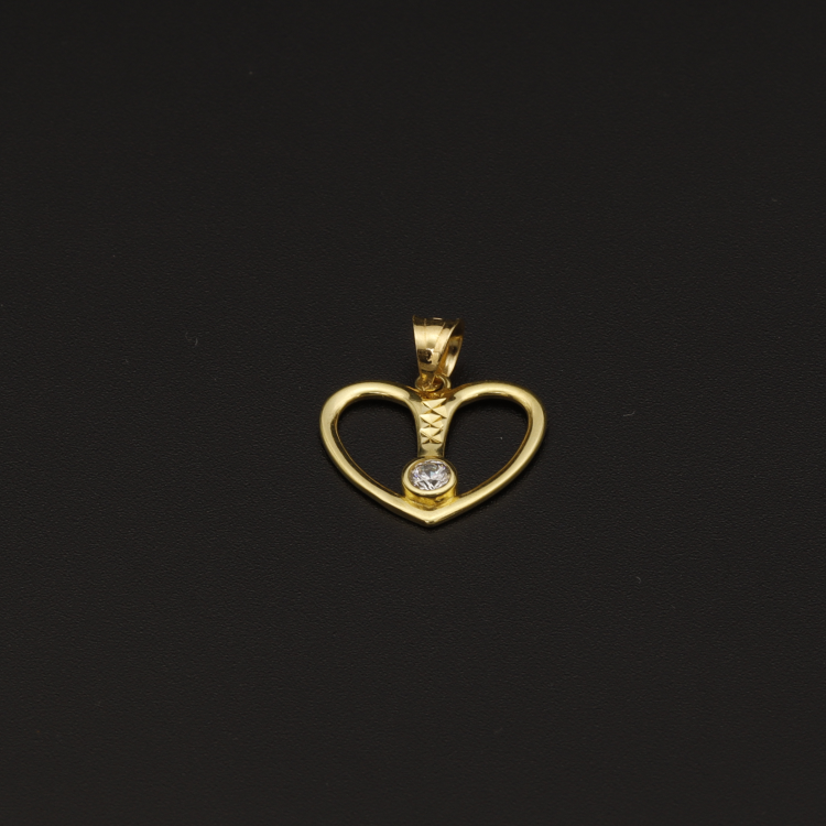 Real Gold Center Line Stone Heart Pendant - 18K Gold Jewelry