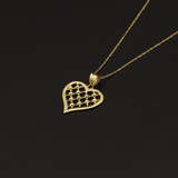 Real Gold Chain With Gold Flat Net Heart Pendant