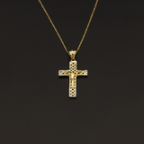 Real Gold Chain With Gold 2 Color Net Cross Pendant