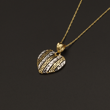 Real Gold Chain With Gold Maze Hoop Heart Pendant