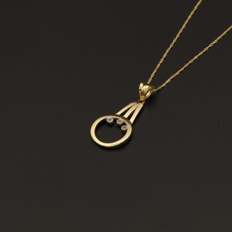 Real Gold Chain With Gold 3 Stone Pendant - 18K Gold Jewelry