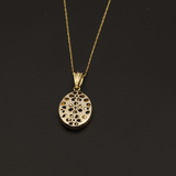Real Gold 2 Side Flower Box Necklace - 18K Gold Jewelry