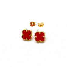 Real Gold VC Red M Earring Set E1589 - 18K Gold Jewelry