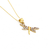 Real Gold 2 Color Dragonfly Necklace 1184 - 18K Gold Jewelry