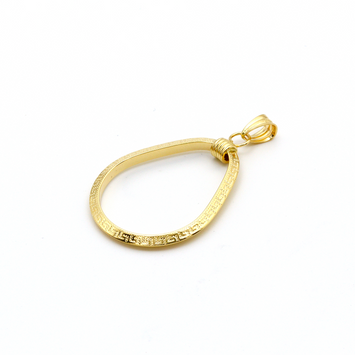 Real Gold Oval Maze Hoop Pendant 2020
