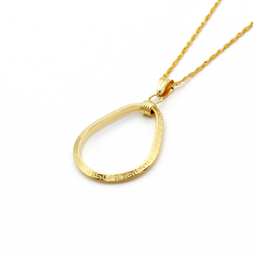 Real Gold Oval Maze Hoop Necklace 2020